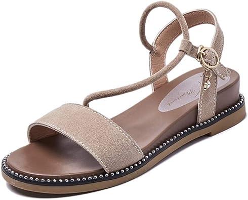 Sandales Plates Femmes,Sandales Femmes Tongs Femmes Peep Toe Sandals Comfort avec Boucle Sangle