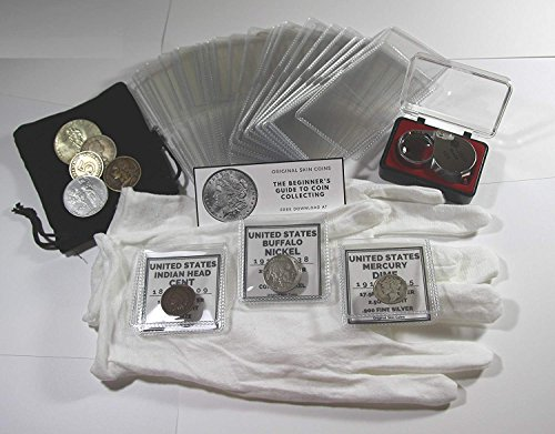 - Coin Collection Set for Beginners, Coin Collecting Supplies Starter Kit - Includes a Silver Mercury Dime, Bronze Indian Head Cent, and Buffalo Nickel
