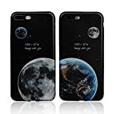 iPhone 7 Plus Couple Case-TTOTT 2x Advanced Chip Technology Printing the Earth & Moon Pattern Best Friend BFF Fashion Matching Couple Cases of Soft Silicone Protaction Cover