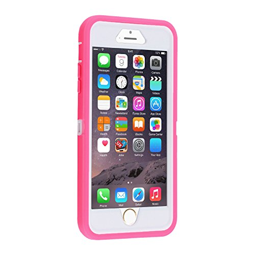 Co-Goldguard Case for iPhone 6s Plus/6 Plus,Heavy Duty 3 in 1 Built-in Screen Protector Cover Dust-Proof Shockproof Drop-Proof Scratch-Resistant Shell for iPhone 6Plus/6sPlus 5.5inch,Pink&White