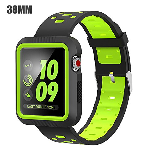 EloBeth Compatible Apple Watch Band 38mm with Shock Resistant Protective Case Soft Silicone Sport Strap iWatch Band for Apple Watch Band Series 3/2/1 Nike+ Sport Edition(Black/Yellow, 38mm)