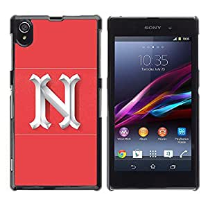 LECELL--Funda protectora / Cubierta / Piel For Sony Xperia Z1 L39 C6902 C6903 C6906 C6916 C6943 -- N New York Letter Pink White Initial --