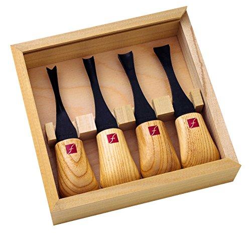 Hardwood Set (Flexcut Carving Tools, Wide-Format Palm Gouges, Ash Hardwood Handles and Carbon Steel Blades, Set of 4 (FR404))