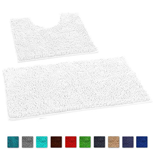 LuxUrux Bathroom Rugs Luxury Chenille 2-Piece Bath Mat Set, Soft Plush Anti-Slip Shower Rug +Toilet Mat.1'' Microfiber Shaggy Carpet, Super Absorbent Machine Washable Bath Mats (Curved Set, White)
