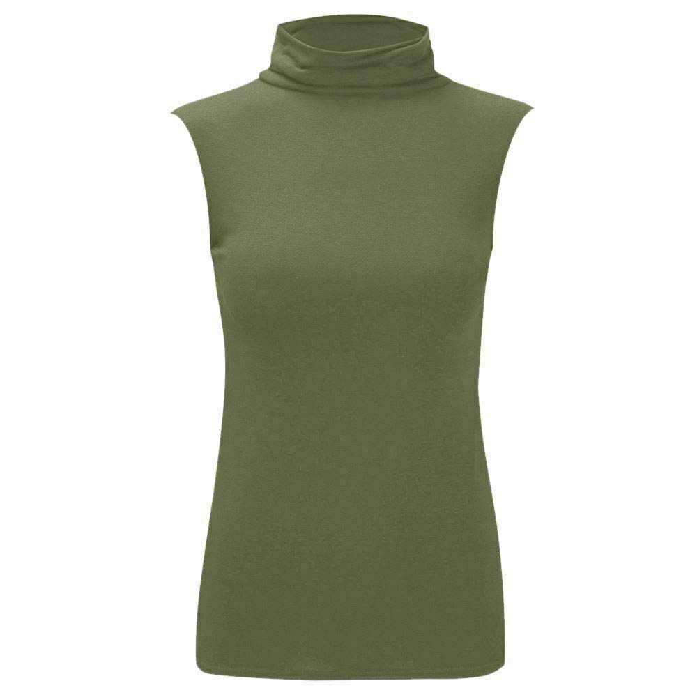Womens Stretchy Polo Turtle Neck Plain Top Ladies Sleeveless Casual Wear Top