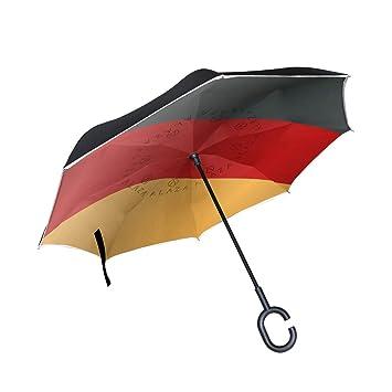 FAJRO- Paraguas Reversible de Doble Capa con Bandera Alemana Viva para Coches, con protección