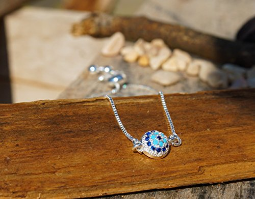 Zircon Eyes (Silver Plated Bracelet for Women | by BARBARI Jewelries | HANDMADE GIFT FOR HER - FREE GIFT BOX ! High Quality Handmade with Round Evil Eye Pendant- inlaid blue zircons- Special Design)