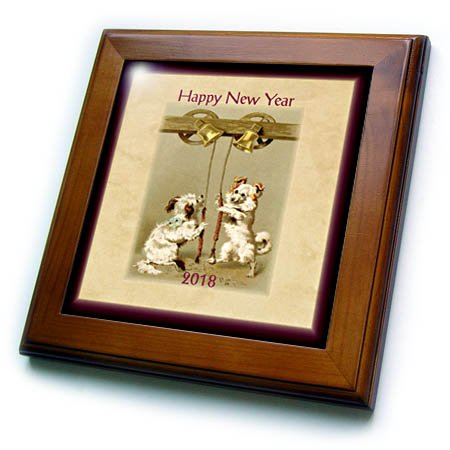 Merlot Framed - 3dRose New Year Designs - Image of two Vintage Style Doggies Ring In New Year 2018-8x8 Framed Tile (ft_266419_1)