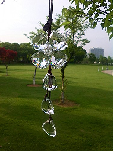 Crystal Clover Suncatcher, Rear View Mirror Car Charm, Travel Protection, Rainbow Maker, Crystal Ball Sun Catcher
