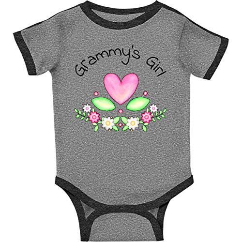 inktastic Grammys Girl- Heart Infant Creeper 18 Months Ringer Heather and Smoke