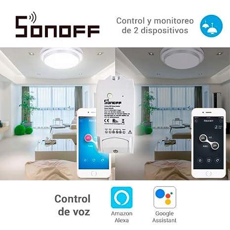 Sonoff Pow SFF-PW Conmutador inal/ámbrico ITead con WiFi y medidor de consumo de energ/ía control de luces y aparatos de tel/éfono