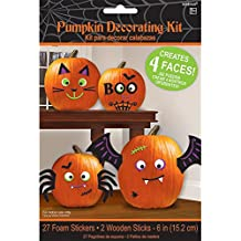 Pumpkin Decorating Kit - Makes 4 Jack-o-lantern Faces (Includes 24 Foam Stickers & 2 Wooden Sticks)