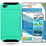 CoverON® Apple Iphone 4 4S Hybrid Dual Layer with Credit Card Holder Slot Case Cover Bundle with Clear Anti-Glare LCD 3 PACK Screen Protector - Teal Hard Black Soft Silicone