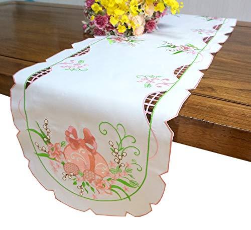 Easter Egg Table Linens - GRANDDECO Spring Easter Egg Table Runner,Applique Floral Cutwork Embroidered Table Linen, Home Kitchen Dining Tabletop Decoration (Runner 15