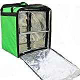 PK-76F:Two-Layer Pizza Delivery Backpack, Insulated Food Delivery Box, Take-Out Box, Food Transport Box with Divider,Keep Hot, Open from Side,16'' L x 15'' W x 18'' H(Green), 76 Liters