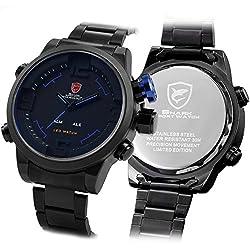 NEW Shark LED Digital Date Day Alarm Men Quartz Army Military Sport Wrist Watch