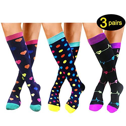 Compression Socks For Women Men 20-25mmHg-1/3 Pairs Best Medical, Nursing, Travel & Flight Socks (S/M, STYLE3)