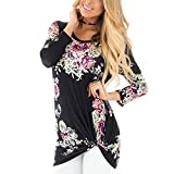 HOOYON Women's Fall Casual Long Sleeve Floral Knot Blouse Tops
