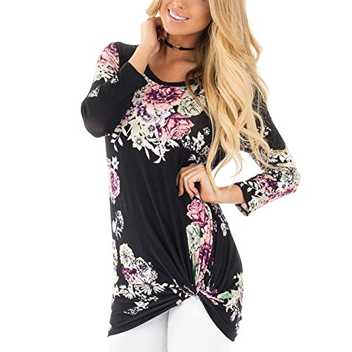 GINVELL Womens Long Sleeve Round Neckline Floral Print Blouses Top Black - Top Neckline Knot