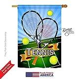Breeze Decor H109002 Tennis Interests Sports Vertical House Flag, 28″ x 40″, Multicolor For Sale