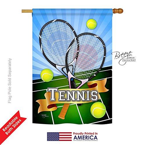 Breeze Decor H109002 Tennis Interests Sports Vertical House Flag, 28