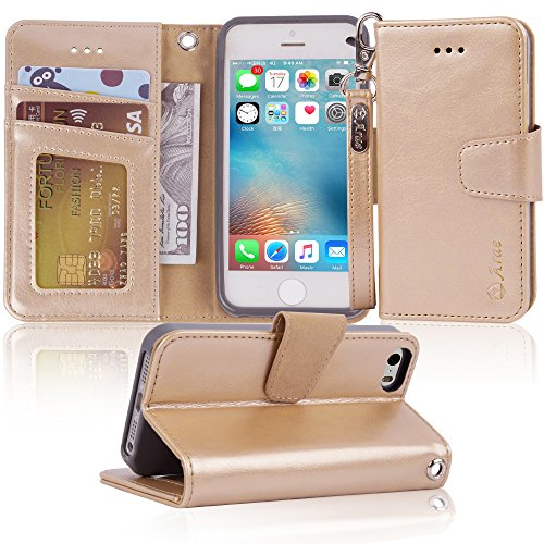 Iphone Se Case  Iphone 5S Case Arae  Wrist Strap  Flip Folio  Kickstand Feature  Pu Leather Wallet Case With Id Credit Card Pockets For Apple Iphone Se 5S 5  Champagne Gold