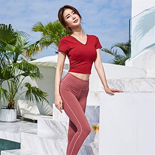 レディースジャージ上下セット 女性用2ピースジャンプスーツ半袖ネクタイフロントクロップドトップパンツセットスポーツウェアヨガウェア (Color : Red, Size : L)