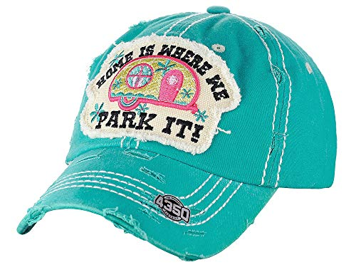 - NYFASHION101 Women's Distressed Unconstructed Embroidered Baseball Cap Dad Hat, Park It, Turquoise
