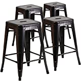 "Flash Furniture Backless Metal Indoor/Outdoor Stool with Square Seat , 24"", Black-Antique Gold (Pack of 4)"