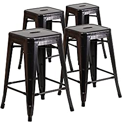 Flash Furniture 4 Pk 24 High Backless Black Antique Gold Metal Indoor Outdoor Counter Height Stool With Square Seat