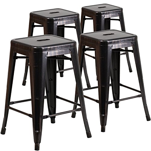 Flash Furniture 4 Pk. 24'' High Backless Black-Antique Gold Metal Indoor-Outdoor Counter Height Stool with Square ()