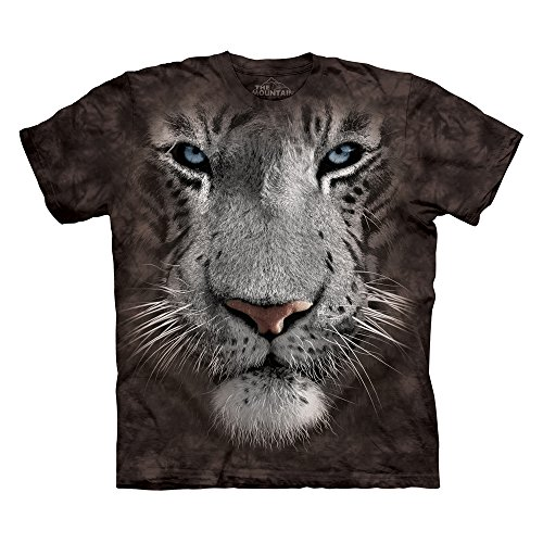 The Mountain Men's White Tiger Face T-Shirt Black - White T-shirt Mart