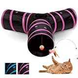 All Prime Cat Tunnel - Also Included is an Interactive Cat Toy - Toys for Cats - Cat Tunnels for Indoor Cats - Cat Tube - Collapsible 3 Way Pet Tunnel - Great Toy for Cats & Rabbits