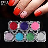 POYING Full Beauty 7 Color Nail Glitter Sets Dazzling Sugar Candy Colorful DIY Carved Pigment Nail Art Decorations Powder Dust CH167