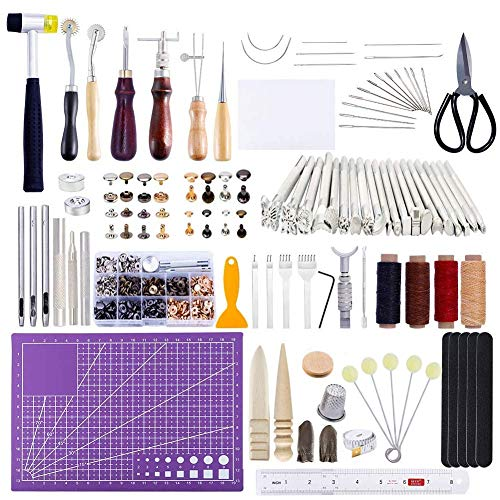 183Pcs Leather kit,Leathercraft Working Tool Kit with Saddle Making Tools Set,Leather Rivets Kit,Prong Punch,Leather Hammer for Leather Working,Leather Making,Leather Craft DIY