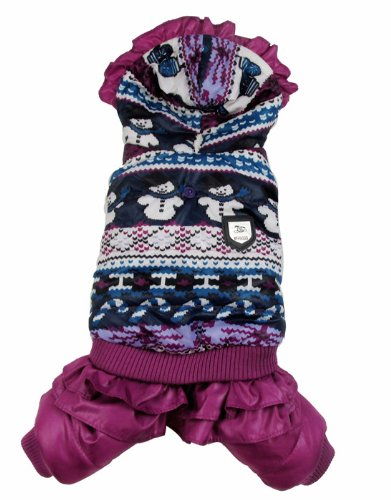 Evergreens Snowman Design Pet Dogs Winter Coat (Purple(Female), M for body 10.6″)