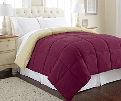 Amrapur Overseas Goose Down Alternative Microfiber Quilted Reversible Comforter/Duvet Insert Ultra Soft Hypoallergenic Bedding - Medium Warmth for All Seasons, Twin, Anemone/Wheat