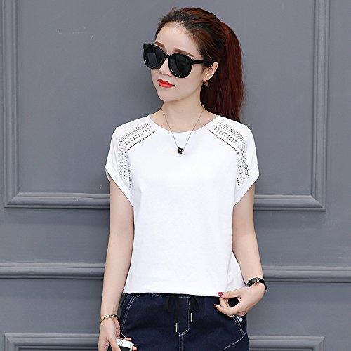 ampia Maglietta MOMO112463 corte maniche da a bianca donna xIT6Fwv