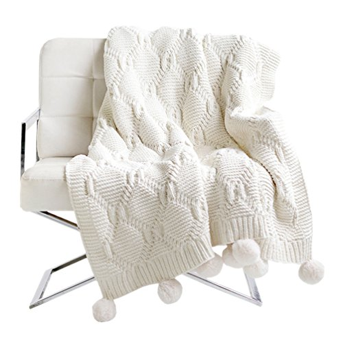 (LIFEREVO Luxury Acrylic Chenille Faux Fur Pompoms Fringe Throw Blanket Diamond Jacquard Ultra Soft (White, 51x63 Inches))