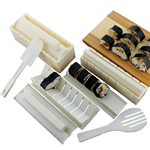 Premium Sushi Making Kit Rice Mold Set for Beginners 10 Piece Set Kitchen (Sushi Chef Halloween Costume)