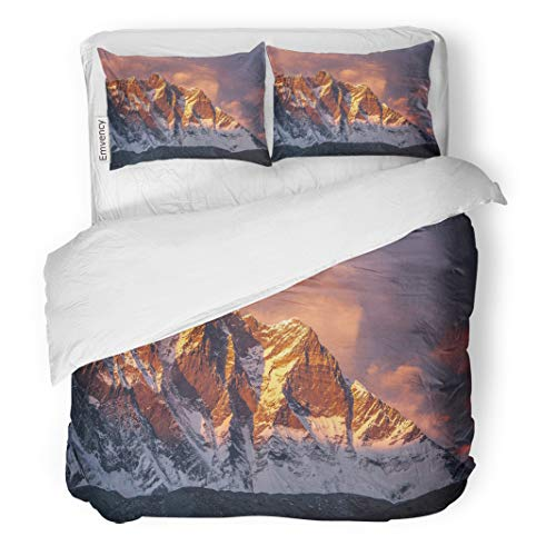 Semtomn Decor Duvet Cover Set Full/Queen Size Beautiful Sunset Pinkish Clouds Over Himalayan Mountains Lhotse South 3 Piece Brushed Microfiber Fabric Print Bedding Set Cover -