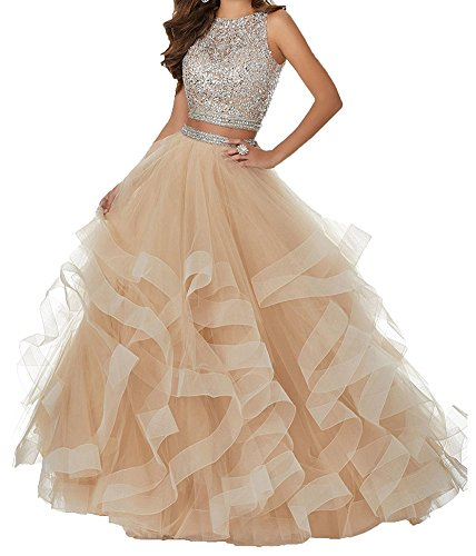 (Honeydress Women's Sexy Beaded Layered Ruffles Tulle Two Pieces Prom Dress Champagne)