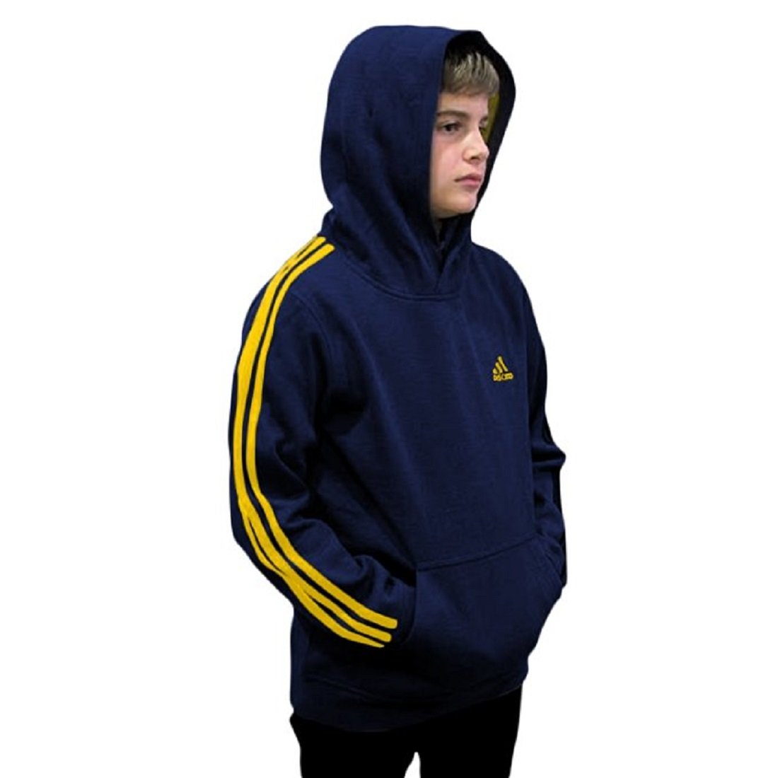 Outerstuff adidas Youth Fleece Collection (Youth Medium 10/12, Fleece Pullover Hoodie, Navy/Yellow) by Outerstuff
