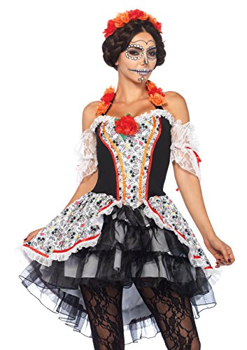 Day Of The Dead Costumes 2016 (Leg Avenue Women's Lovely Calavera Costume, Multi, Small/Medium)