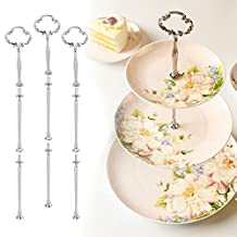 Multi-style 3 Tiers Cake Plate Stand Handle Fitting Hardware Rod Plate Stand Color:Silver Pattern:Round