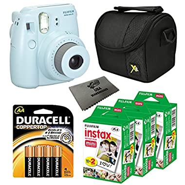 Fujifilm Instax Mini 8 Instant Film Camera with 3 Pack Instant Film (60 Sheets), Case, Pack of AA Batteries and Lens Cleaner Cloth (Blue)