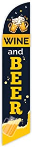 Cobb Promo Wine and Beer (Black/Yellow) Advertising Feather Flag 12ft - Replacement Flag Only (Without Poleset)