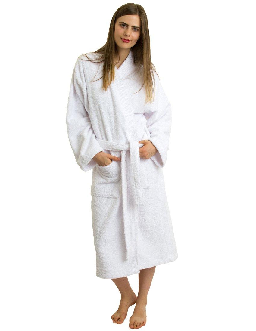 TowelSelections Terry Kimono Bathrobe - Kimono Terry Cloth Robe for Women and Men, 100% Turkish Cotton, Made in Turkey (White, S/M)