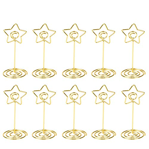 Star Card Holder - Place Card Holder Gold Table Number Stand Wire Photo Holder Clips Picture ID Card Paper Note Memo Holder Clips for Wedding Party - 10pcs