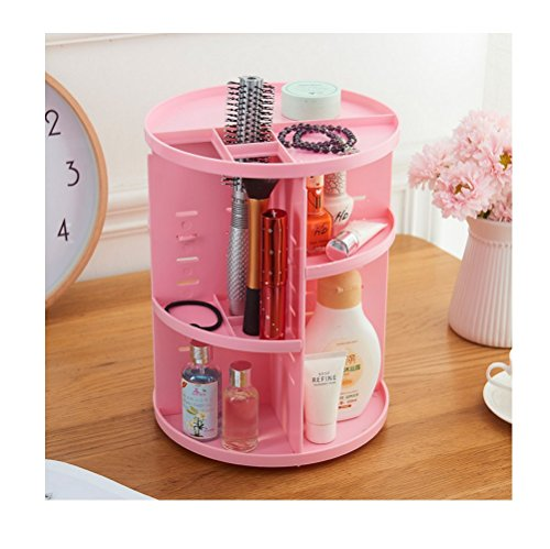 Top Oxford Vanity (Interbusiness Desktop Rotary Plastic Cosmetic Organizer Shelves, Pink)
